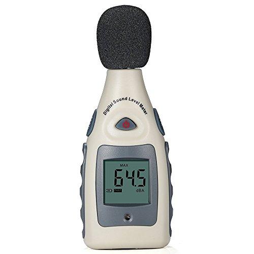 Sonómetro Digital GrandBeing Medidor de Decibelios de 30 - 130 dB, Decibelímetro Digital con Pantalla LCD y Batería 9V