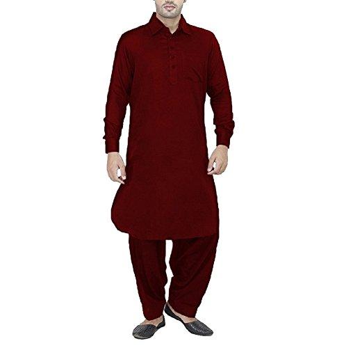 Royal Mens Cotton Linen Maroon Pathani Suit For Men (40)