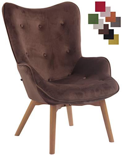 CLP Lounger Duke mit geknöpfter Polsterung und Stoffbezug I Loungesessel mit Armlehnen und Gestell aus Buchenholz Braun