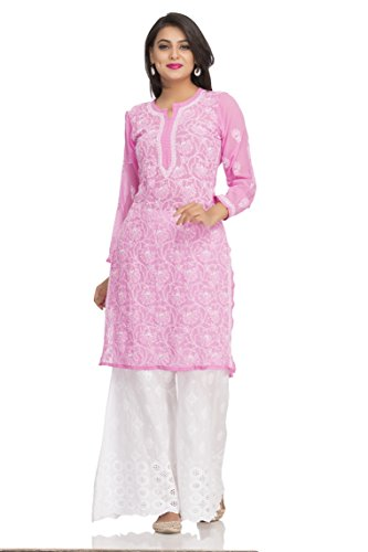 ADA Hand Embroidered Lakhnavi Chikan Regular Wear Faux Georgette Kurti Kurtas (A95522_Pink)