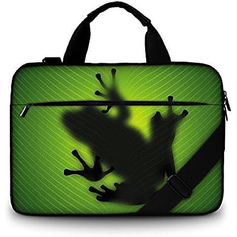 Luxburg® Design Bolso Funda blanda business para portátil ordenadores Laptop Notebook hasta 17.3 con correa. compartimentos. Motivo: Silueta de rana