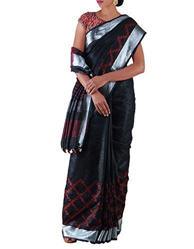 Unnati Silks Women Black Pure Handloom Linen Plain Saree(UNM23175)