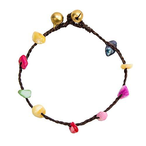 Armband Armreif,Schmuck Geschenk, Handmade Stone Beaded Colorful Chain Retro Gold Bell Wax Rope Bracelets for Women Bohemian Jewelry Fashion Woman Bracelets 33 Color (14-karat Gold Charm Bracelet)