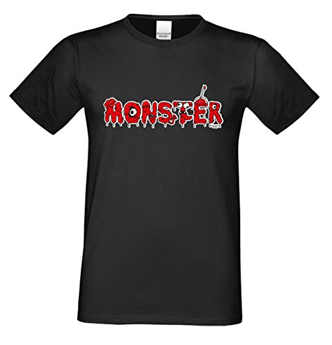 Monster ::: Lustiges Halloween-Kostüm-Fun-Sprüche-T-Shirt für Herren Teenager Party-Outfit-Bekleidung auch Übergrößen Farbe: schwarz Schwarz