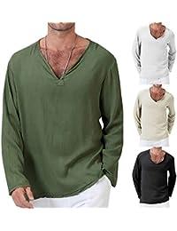 3146a308341 mDIycbd Everrikle T- Shirts for Men Casual Solid Color V Neck Long Sleeve  Men Loose