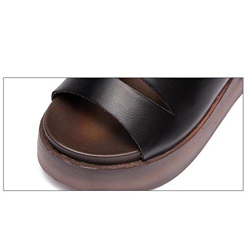 Pente avec sandales à talons hauts à bascule --- 5CM Sandales sexy d'été féminin Chaussons décontractés Sandales épaisses Noir Blanc --- Herringbone fashion sweet Sandals Noir