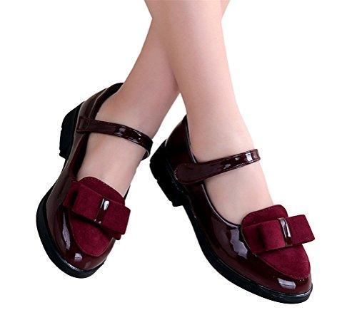 Brinny Fille Princesse Chaussures en PU Cuir Vernis Rond Bout Nœud Papillon Bébé Fille Ballerine Sandale Tollder Velcro Chaussures à petite Talon Vin Rouge