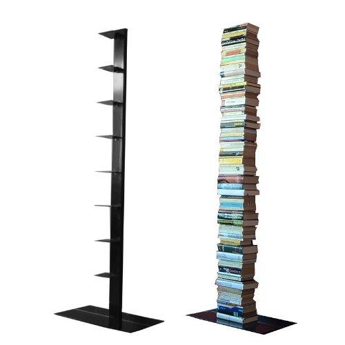 Single Bücherregal (booksbaum single stand gross schwarz, 3tlg. best.aus: Halterung + Fuß + Einlegeböden)