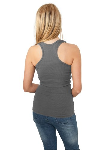 Urban Classics Damen Sport Tank Top Ladies Faded Tanktop Grau