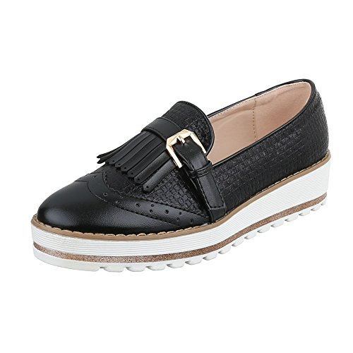 Ital-Design Slipper Damen-Schuhe Low-Top Schnallen DEKO Halbschuhe Schwarz, Gr 40, Hw253- (Schnalle-mokassin)