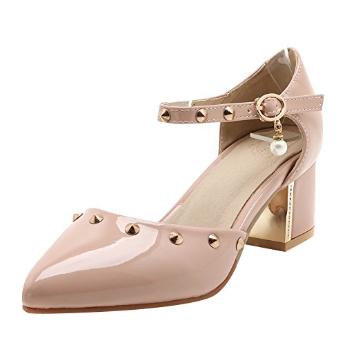 Mee Shoes Damen chunky heels ankle strap Lackleder Pumps Aprikose