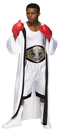 Boxer Herren Kostüm Weiß/Schwarz Gr. L Umhang Handschuhe Gürtel Shorts Box Champion Sportler