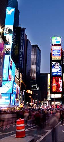 Bilderdepot24 Türtapete selbstklebend Times Square by Night 90 x 200 cm - einteilig Türaufkleber Türfolie Türposter - New York City Big Apple USA Manhattan Broadway Avenue Lichter Reklame Reisen