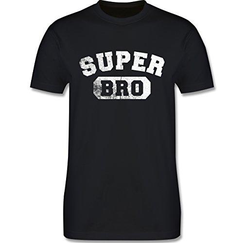 Bruder & Onkel – Super Bro – Vintage-&Collegestil – XL – Schwarz – L190 – Herren T-Shirt Rundhals