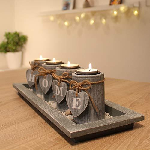 Dszapaci Teelichthalter-Set Holz Tablett Landhaus Tischdekoration Windlicht Weihnachtsdekoration Innen