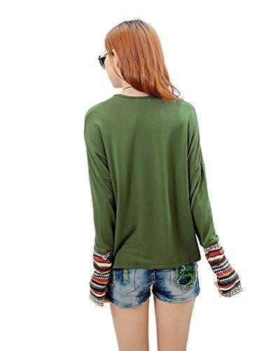 Minetom Damen Herbst Winter Rundhals Langarm T-Shirt Hemd Lose Bequemen Schlafanzug Pulli Lose T-Shirt Bluse Tops Grün