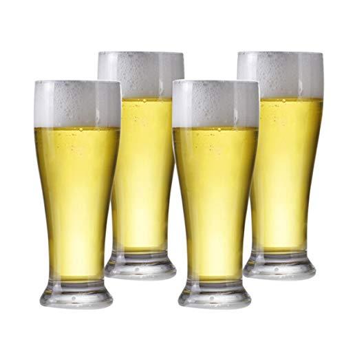 KUQIQI Bierkrüge, Bierkrüge, Bierglaswaren, Bierkrug, Glasbierkrug, Bierkrug, Trinkbecher, Wasserbecher, 415 ml, Set (4 Packungen) (Color : Transparent, Size : 415ml) Pilsner Becher-set