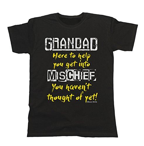 Grandad Here To Help You Get Into Mischief You Haven't Thought Of Yet Herren Mens T-Shirt for Grandfather Grandpa Schwarz