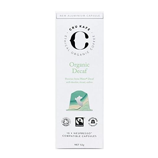 CRU Kafe Organic Decaf Coffee Capsules | Nespresso Compatible Coffee Pods | Single Origin Decaf Roast | Strength 6…