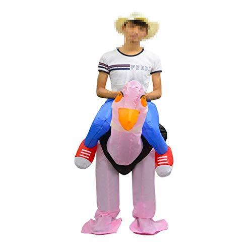 Strauß Kinder Kostüm Aufblasbare - OLLVU Erwachsener Halloween-Karikatur-Strauß-aufblasbarer Anzugs-Rosa-nettes lustiges Kostüm Cosplay Halblanger Hosen-Kleidungs-Polyester-handgemachtes Handwerk (Color : Pink, Size : 150-195cm)