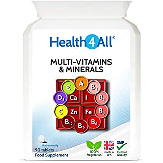 Multi-Vitamins & Minerals One a Day 90 Tablets 100% RDA. Made by Health4All (B00NEKQQIS) | Amazon price tracker / tracking, Amazon price history charts, Amazon price watches, Amazon price drop alerts