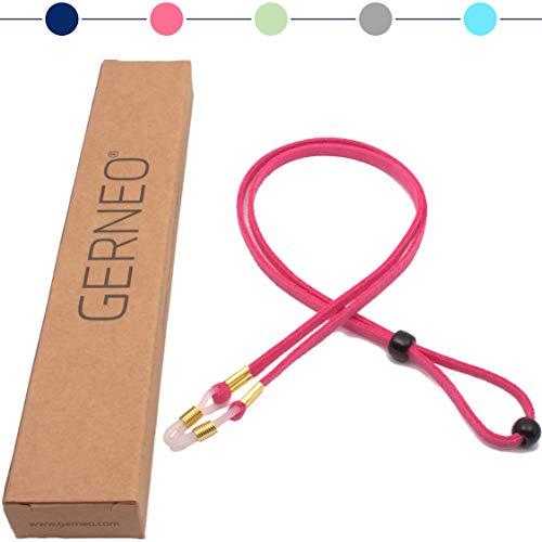 GERNEO GERNEO - DAS ORIGINAL - Premium Leder Brillenband aus PU Wildleder Unisex für Lesebrille & Sonnenbrille - diverse Sommerfarben (Hibiskusrosa)