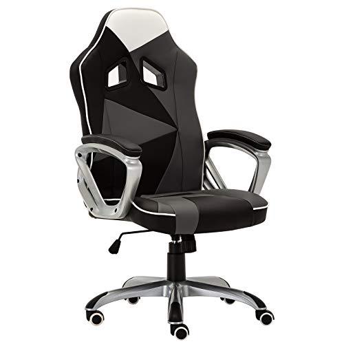 Woltu bs07swg sedia da ufficio sedia gaming poltrona girevole con schienale braccioli ecopelle office chair