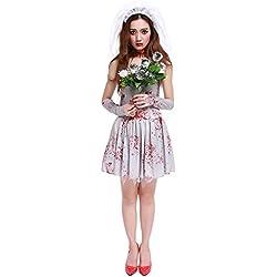 Halloween/traje/para las mujeres/falda sexy/ disfraz de vampiro /fiesta/terror]/novia fantasma-Gris Free Size