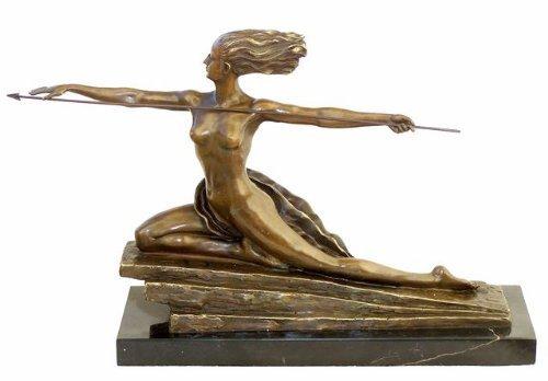 Art deco statua in bronzo–amazone su base in marmo–firmato–marcel andré bouraine–scultore francese