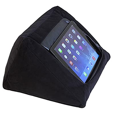 MobileToyz iPad Cushion Pillow Stand Holder (BLACK) for iPad and other Tablet devices. Use around the home, in bed or on the desk. Avoid iPad RSI and iPad Shoulder. Filled with bean bag beans