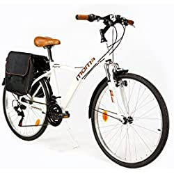 "Moma Bikes Bicicleta Trekking/Paseo HYBRID 26"", Alu, SHIMANO 18V, Susp. Delant."