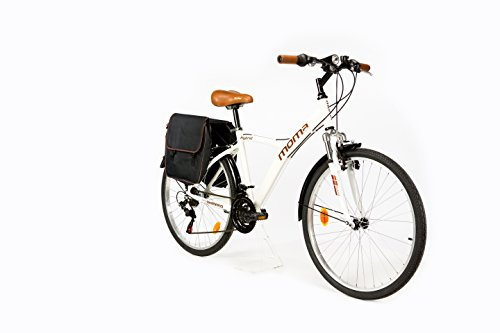 Moma Bikes, Bicicletta Ibrida SHIMANO, Alluminio, 18 velocità, Ruota da 26', con Sospensione, Bianco