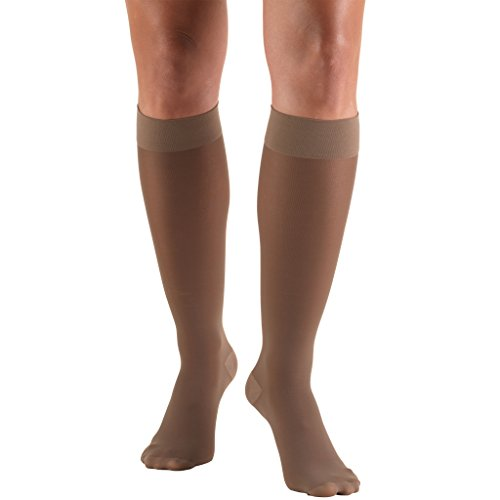 Truform 0253, Women's Compression Stockings, Knee High, Sheer, 30-40 mmHg, Taupe, Medium