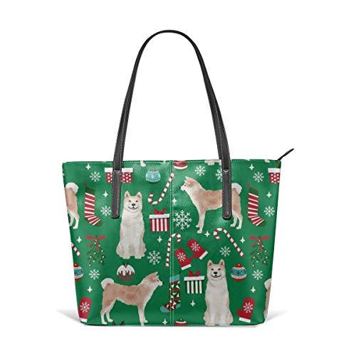 Tote Umhängetasche Akita Hunderasse Urlaub präsentiert Zuckerstangen Schneeflocken Green Fashion Handtaschen Satchel Geldbörse ()