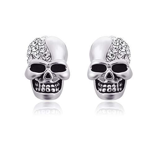 Newin Star Ghost Head Stud Ohrring Schädel erschreckend Ohrring mit Diamant Halloween Dekoration für Mädchen / Jungen (Silber) 1 Paar
