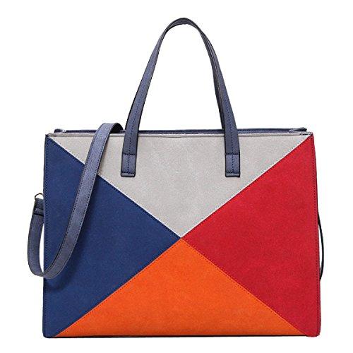 Frauen Farbe Matt Crossbody Große Kapazität Schulranzen Handtaschen Blau Blue