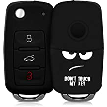 Cover per chiave auto per chiave VW Skoda Seat con 3 tasti - kwmobile guscio protettivo in silicone Design Don't touch my Key bianco nero - custodia per chiavi