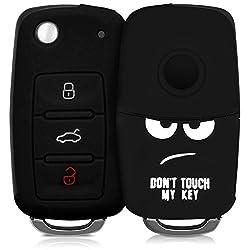 kwmobile Autoschlüssel Hülle für VW Skoda Seat - Silikon Schutzhülle Schlüsselhülle Cover für VW Skoda Seat 3-Tasten Autoschlüssel Don't Touch My Key Design Weiß Schwarz