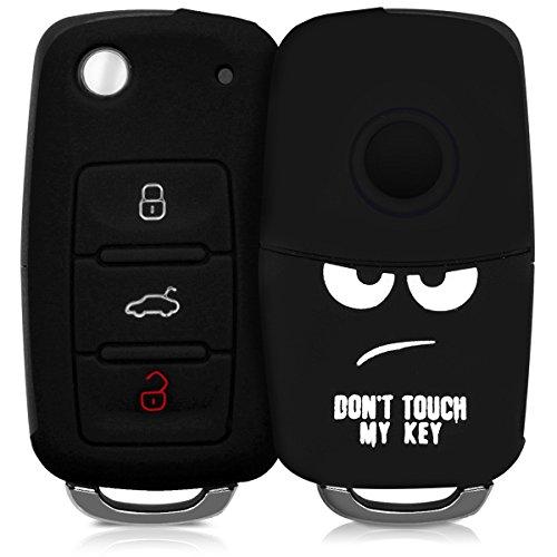 kwmobile Autoschlüssel Hülle für VW Skoda Seat - Silikon Schutzhülle Schlüsselhülle Cover für VW Skoda Seat 3-Tasten Autoschlüssel Don\'t Touch My Key Design Weiß Schwarz
