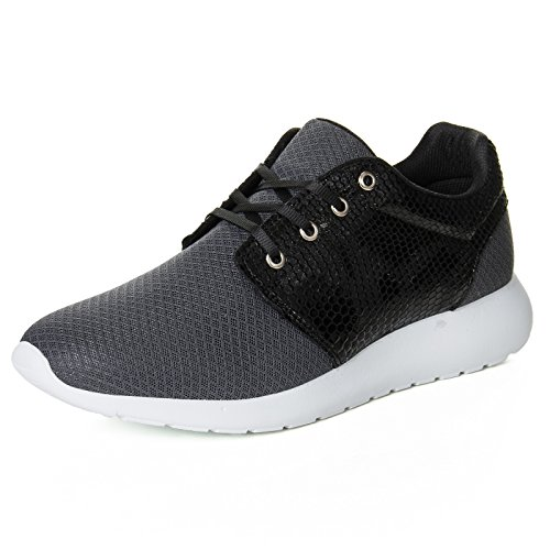 Herren Low Top Sneaker Schuhe Kunst Leder Snake Skin Sport Style 111 Grau