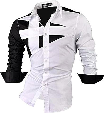 jeansian Homme Chemises Casual Shirt Tops Mode Men Slim Fit 8397 White L