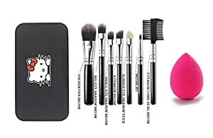 MISS & MAM Hilary Rhoda Makeup Brush Set of 7 with Storage Box with Sponge Puff (Colour May Vary)