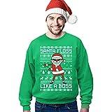 Ugly Christmas Santa Floss Like a Boss Herren Weihnachts Pulli Sweatshirt X-Large Grün
