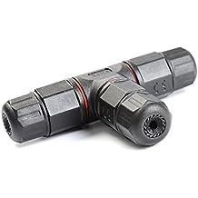ATPWONZ Scatola di giunzione IP68 resistente alle intemperie all'aperto connettore del cavo Gland esterno manicotto elettrico accoppiatore Ø 5mm 10mm (3 Pole Nero) - 3 Pin Gomma Connettore
