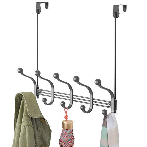 mDesign praktische Hakenleiste – Wandgarderobe mit 10 Garderobenhaken für Küche, Flur und Bad – Haken zur Aufbewahrung von Mänteln, Jacken, Schals und Handtüchern – grau
