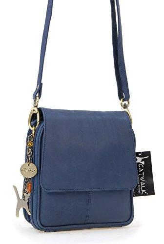 Organizer-Umhängetasche aus Leder von Catwalk Collection - GRÖßE: B: 18 H: 20 T: 7,5 cm Blau