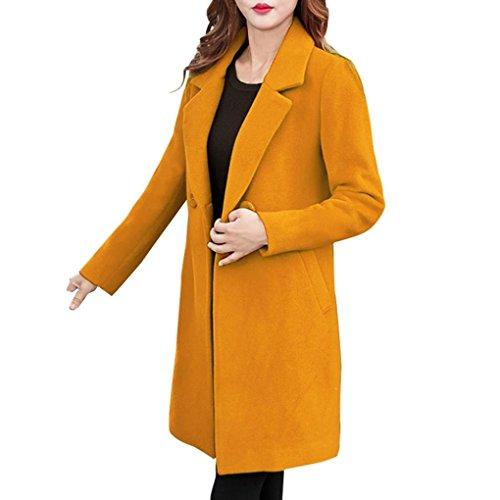 Fuibo Damen Mantel Outwear, Womens Cashmere-Like Dicker Jacke Outwear Parka Cardigan Schlank Mantel (Gelb, L) (Kaschmir Like Strickjacke)