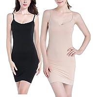 Fispo Women's Nylon Spandex Seamless Long Cami Slip Dress (Medium, Black/Nude, 2 Pack)