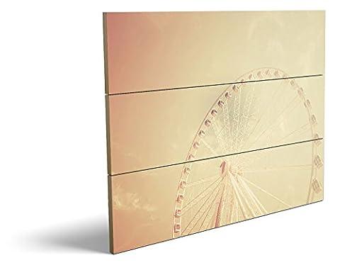 Das Riesenrad, qualitatives MDF-Holzbild im Drei-Brett-Design mit hochwertigem und ökologischem UV-Druck Format: 80x60cm, hervorragend als Wanddekoration für Ihr Büro oder Zimmer, ein Hingucker, kein Leinwand-Bild oder Gemälde