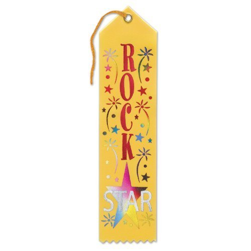 Beistle AR241 6-Piece Rock Star Award Ribbons, 2 by 8-Inch by Beistle (Rock Award Star)